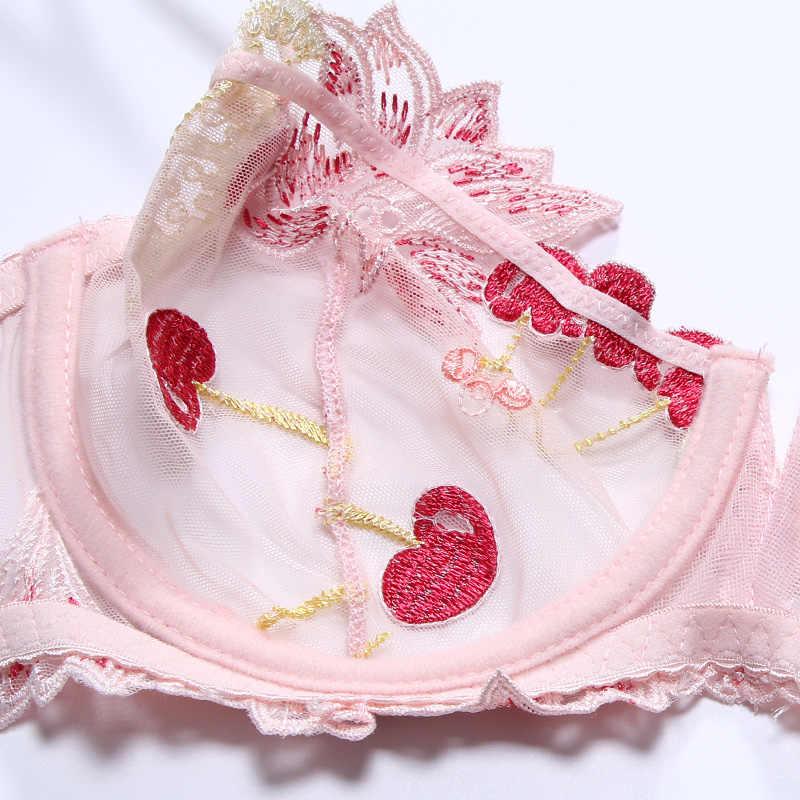 Bielizna damska różowy biustonosz i zestaw fig zestaw przejrzystych biustonoszy bielizna Kawaii Cherry hafty bielizna damska biustonosz bez podszewki