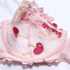 Image 3 - Kadın iç çamaşırı pembe sutyen ve külot seti şeffaf sutyen seti iç çamaşırı Kawaii kiraz nakış iç çamaşırı kadın sutyen çizgisiz