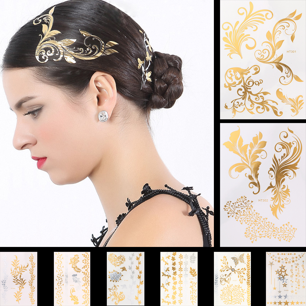 1 Sheet 8 Designs Gold Silver Flash Metallic Temporary Tattoo Sticker