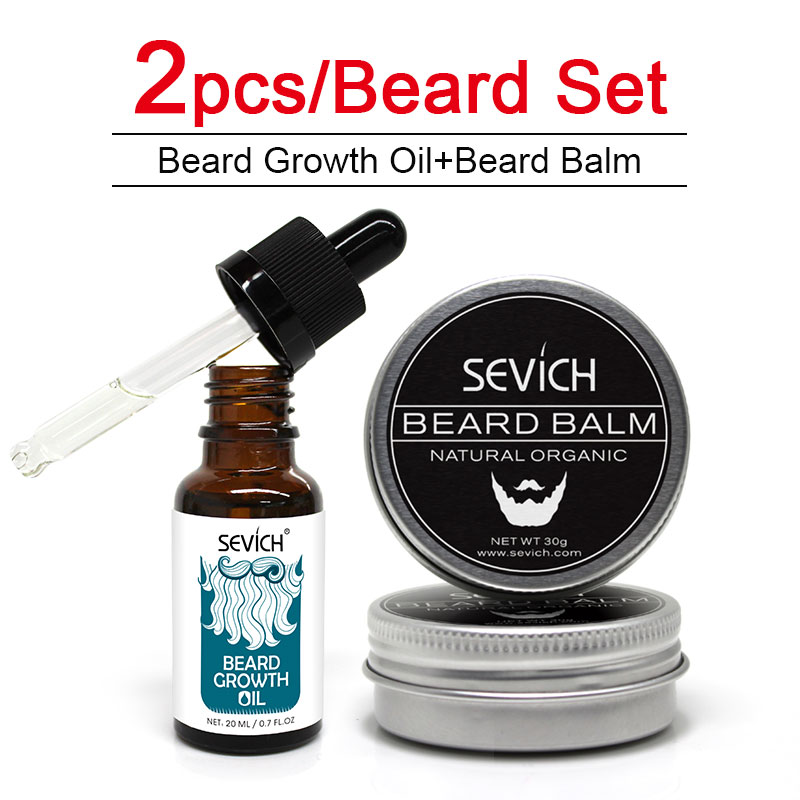 Sevich 2 pcs Beard Care Sets Natural Beard Growth Oil + Beard Balm For beard Smooth Styling Avoid Beard Hair Loss Products image