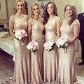 Gold Sequin Bridesmaid Dress Long Mermaid Women Dress 2016 Short Sleeve Wedding Party Dress Robe De Demoiselle D Honneur Femme