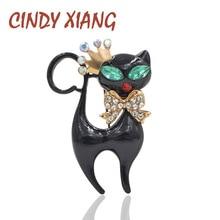 new design balck enamel green eyes cat brooches for women cute wear bowknot kitty fashion jewelry bag coat brooch pin