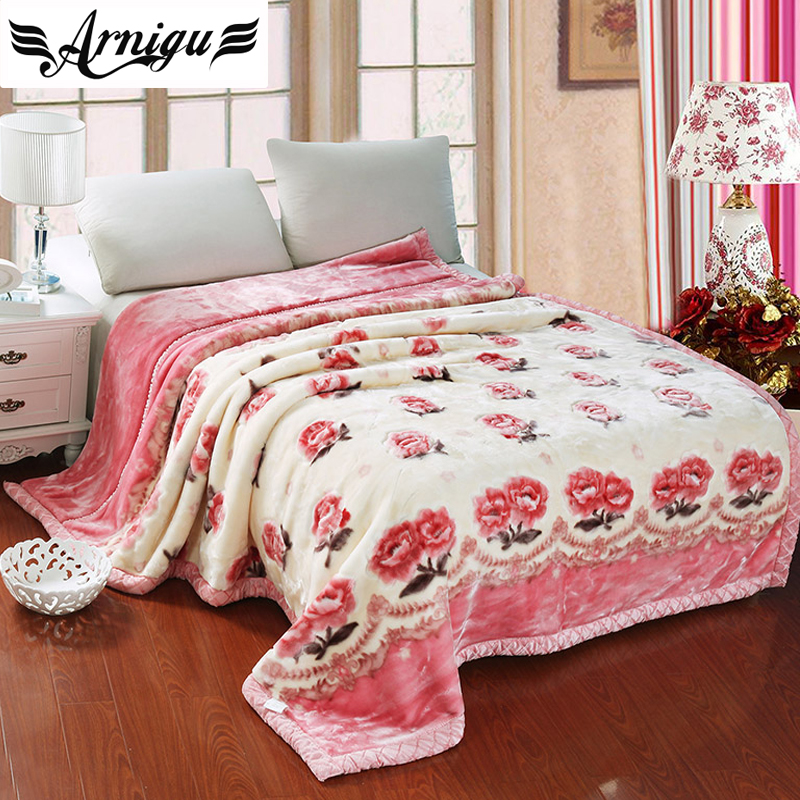 ФОТО Arnigu peony floral thick Blankets 150x200cm 180x220cm 200x240cm Double face Raschel blanket warm Bedsheet winter bed/sofa Throw