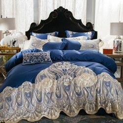 Luksusowe niebieski 120 S z egipskiej bawełny haftowane pościel zestaw królowa król europa szlachetne koronki krawędzi kołdra pokrywa łóżko zestaw arkuszy poszewka na poduszkę