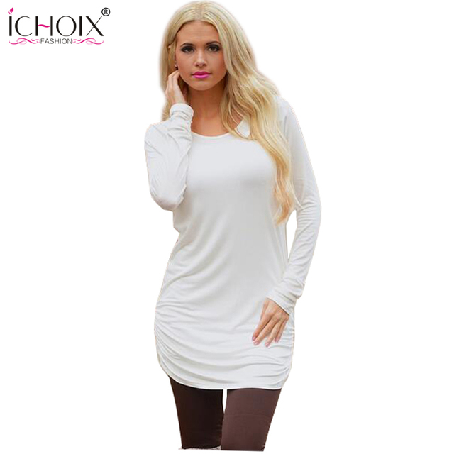 2017 New Fashion Women Ladies Casual Long Sleeve O-Neck t shirt Solid Crewneck Loose Sexy T Shirt Tops work wear t-shirt women