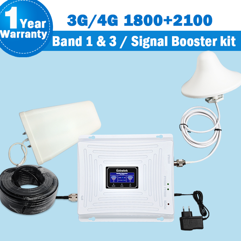 Dual Band 3G Repeater 2100 GSM DCS LTE 4G 1800 WCDMA/UMTS 2100MHz 3G Amplifier Mobile Signal Antenna Set Dual Band Repeater S61