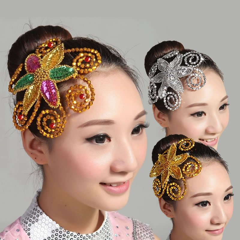 2018 Hot   Headwear   For Women And Girls, Latin dance hair Accessories,Sequined hair clip , handmade,For Adult and children A312