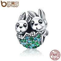 BAMOER New Arrival 100 925 Sterling Silver Easter Rabbit Animal Beads Fit Clear CZ Women Charm