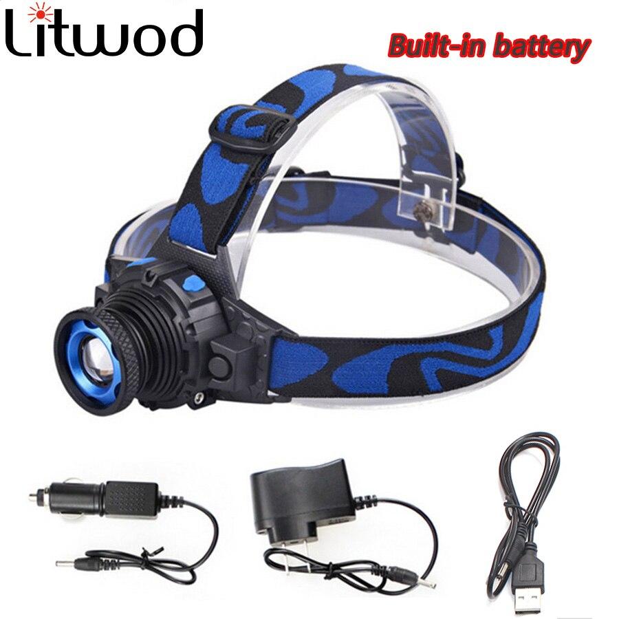 Litwod Z202308 CREE XML Q5 Led helle Scheinwerfer head light Taschenlampe kopf Build-in Wiederaufladbare Batterie Zoomable Kopf lampe