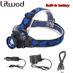 Litwod Z202308 XML Q5 Led bright Headlamp Head light head Flashlight head Build-in Rechargeable Battery Zoomable Head lamp