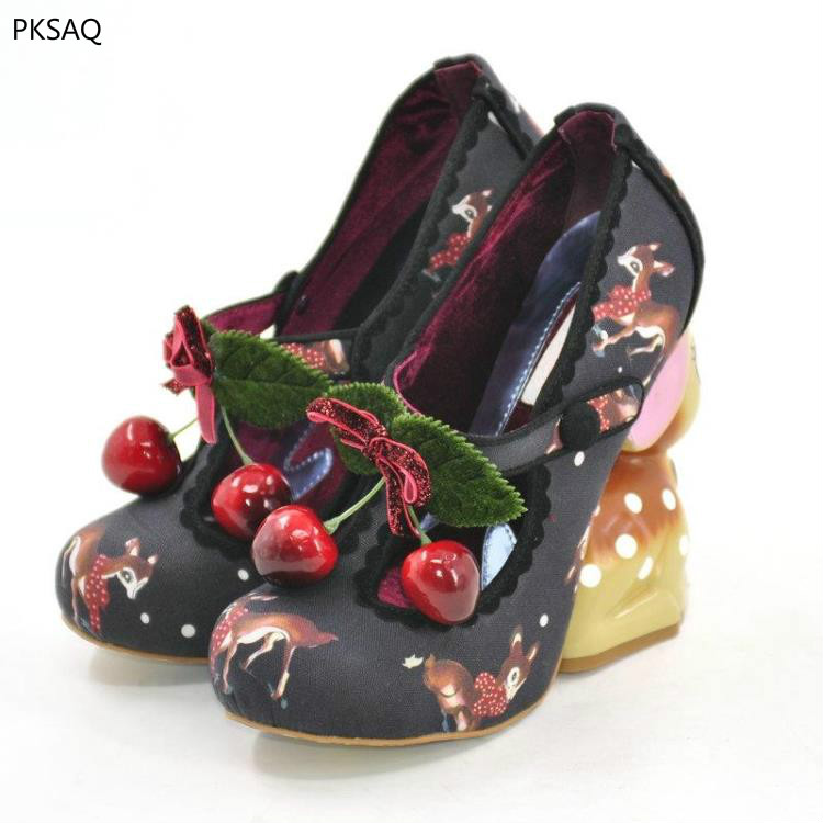 Здесь продается  Girls Cute Deer Fashion Animals High Heels Custom Sweet Pumps Women Nightculb Party Shoes Round Toe Model Show High Heels Shoes  Обувь