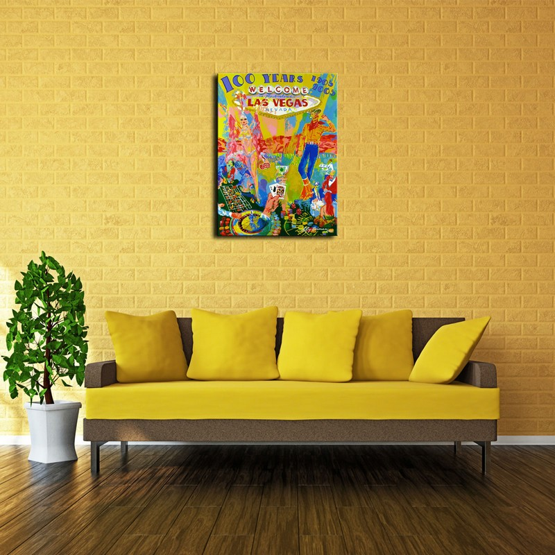 LeRoy Neiman Welcome To Las Vegas Nevada Print Painting on Canvas ...
