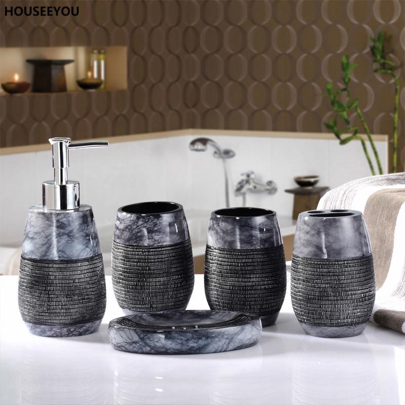 Ev ve Bahçe'ten Banyo Aksesuar Setleri'de Güzel Ciddi Banyo Seti Rustik banyo aksesuarları setleri düğün hediyelik sabun Dağıtıcı şampuan şişesi Havlu Tutucu 5 adet/takım'da  Grup 1