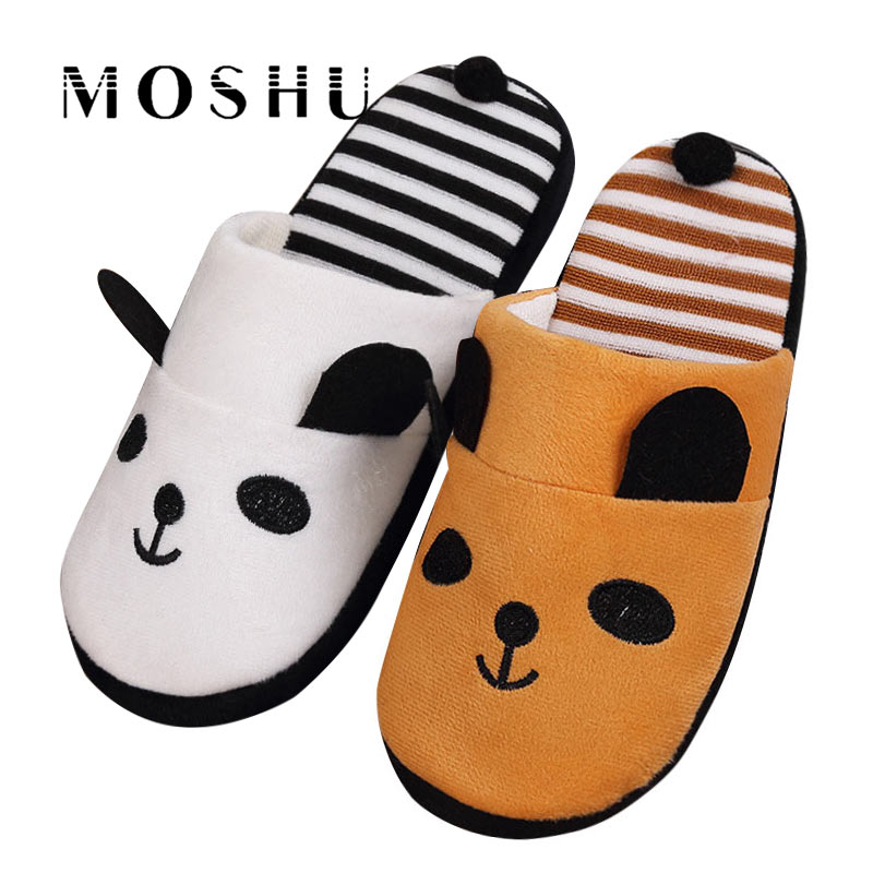 цена Autumn Winter Women Cotton Warm Slippers Non Slip Cute Panda Indoor Soft Flats Shoes Furry Home Cartoon Women Plush Slippers