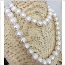 Ручная завязанная натуральный 10-11 мм Белый пресной воды культивированный жемчуг Ожерелье длинные 90 см ювелирные изделия