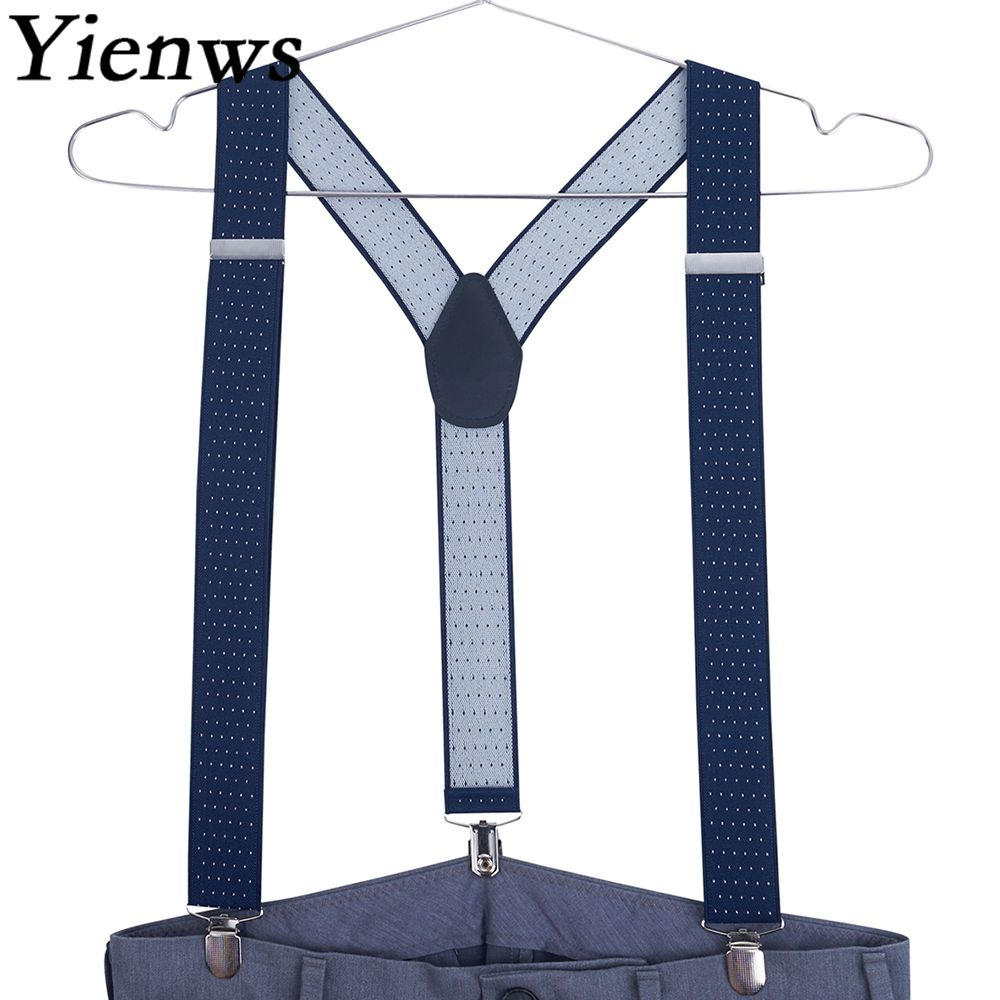 Yienws Suspensorio Masculinos Polka Dot Navy Suspenders For Men 3 Clip Y Back Braces Suspenders Male For Pants 120cm YiA007