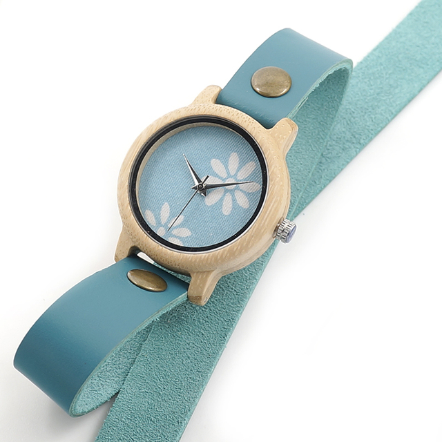 BOBO BIRD Bamboo Watches for Women New Fashion Created Reloje Mujer 2017 Colorful Long Leather Strap in Wood Box Bayan Saat Women's Watches