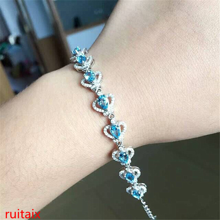 KJJEAXCMY fine jewelry 925 Pure silver with natural blue topaz bracelet jewelry gold and silver color. original 7 wire touch screen n010 0550 t717 industrial touch screen