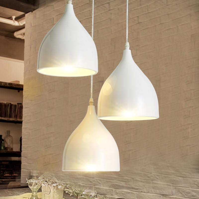 E27 Vintage Lamps Industrial Pendant Light Dining Room Kitchen Restaurant Decor White Aluminum Home Lighting Fixtures 110-220V аксессуар rexant 2rca 2rca 1m 17 0102