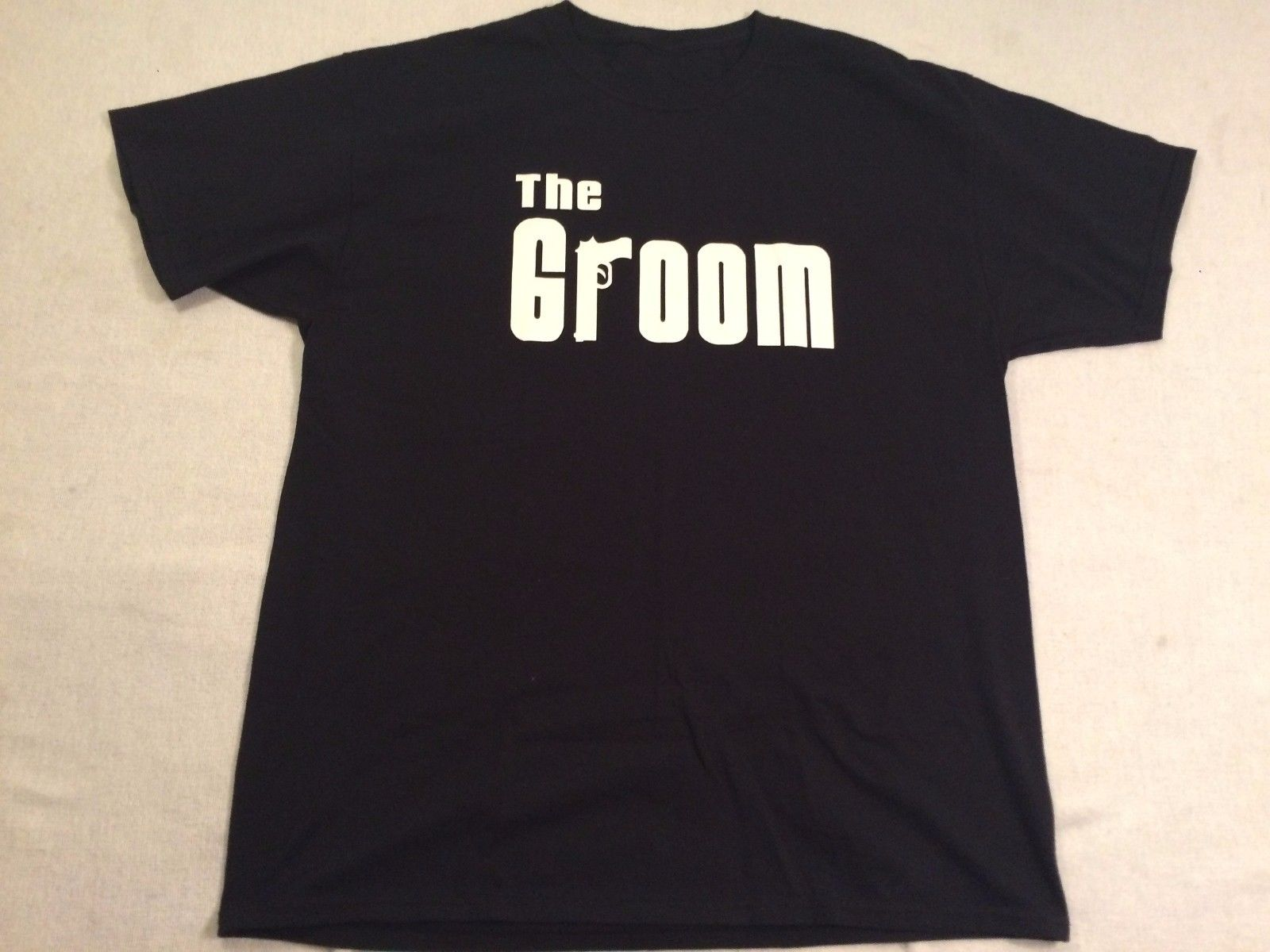 THE GROOM T SHIRT MENS XL BLACK WHITE HBO SOPRANOS LOGO GUN HUSBAND MARRIAGE ...