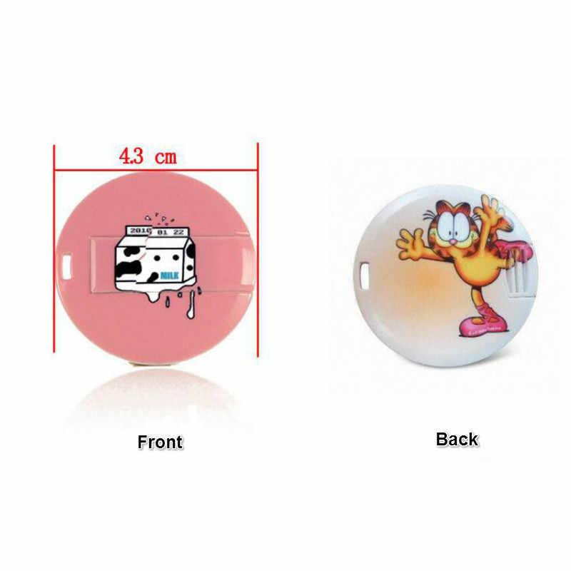Movimentação redonda do flash de usb do cartão de crédito de 4 gb 8 gb 16gb 32gb com logotipo da cor completa que imprime a movimentação feita sob encomenda do flash de usb (sobre o logotipo livre de 10 pces)
