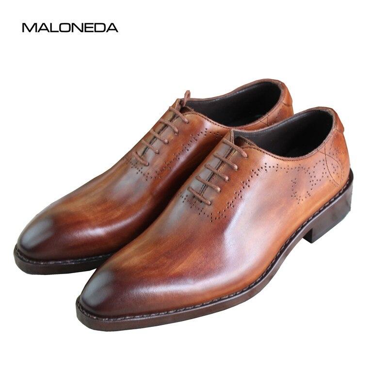 MALONEDA на заказ ручной работы обувь из натуральной кожи с кожаная подошва Goodyear Welted для Бизнес Для мужчин Туфли без каблуков Бесплатная достав