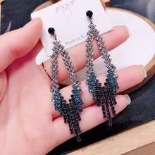 long tassel  needle earrings korean fashion  rhinestone earrings  luxury   big earrings  drop earrings jewelry
