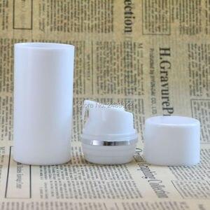 Image 2 - 30ml 50ml 80ml 100ml plastik havasız şişe gümüş çizgi ile boş kozmetik kapları beyaz kap kozmetik ambalaj 10 adet/grup