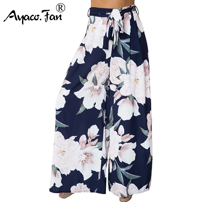 New Spring Floral Print   Wide     Leg     Pants   Girls Women Long Casual Loose   Pants   Summer Boho Beach Elastic High Waist Chiffon Trousers