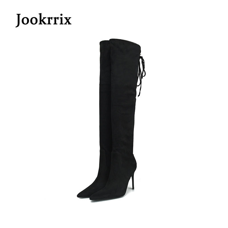 Jookrrix Fashion Winter Shoes Women Over the Knee High Boots Suede Boot Thin Pointed-toe Lady Long Thigh High Heel Boot Big Size 2016 fashion women winter shoes big size 30 50 low heel botas slip on stretch thin leg over the knee boots 30 31 32 33 hqw a98