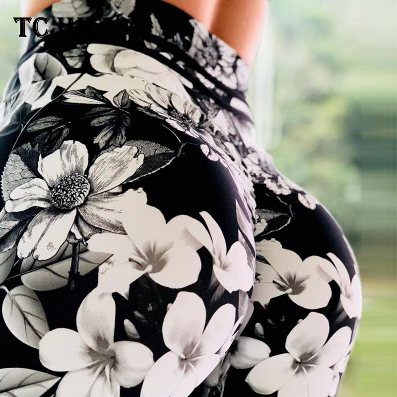 TCJULY Ink Flowers Patterns Printed Ladies Leggings High Waist Push Up Workout Pants Elasticity Breathable Balck Fitness Leggins