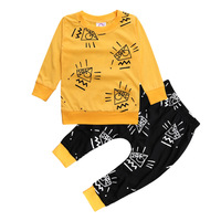 2017赤ちゃん男の子服セットゲームマスター子供スーツセットファッション秋男性2ピースセットを印刷トップス+パンツ子供服