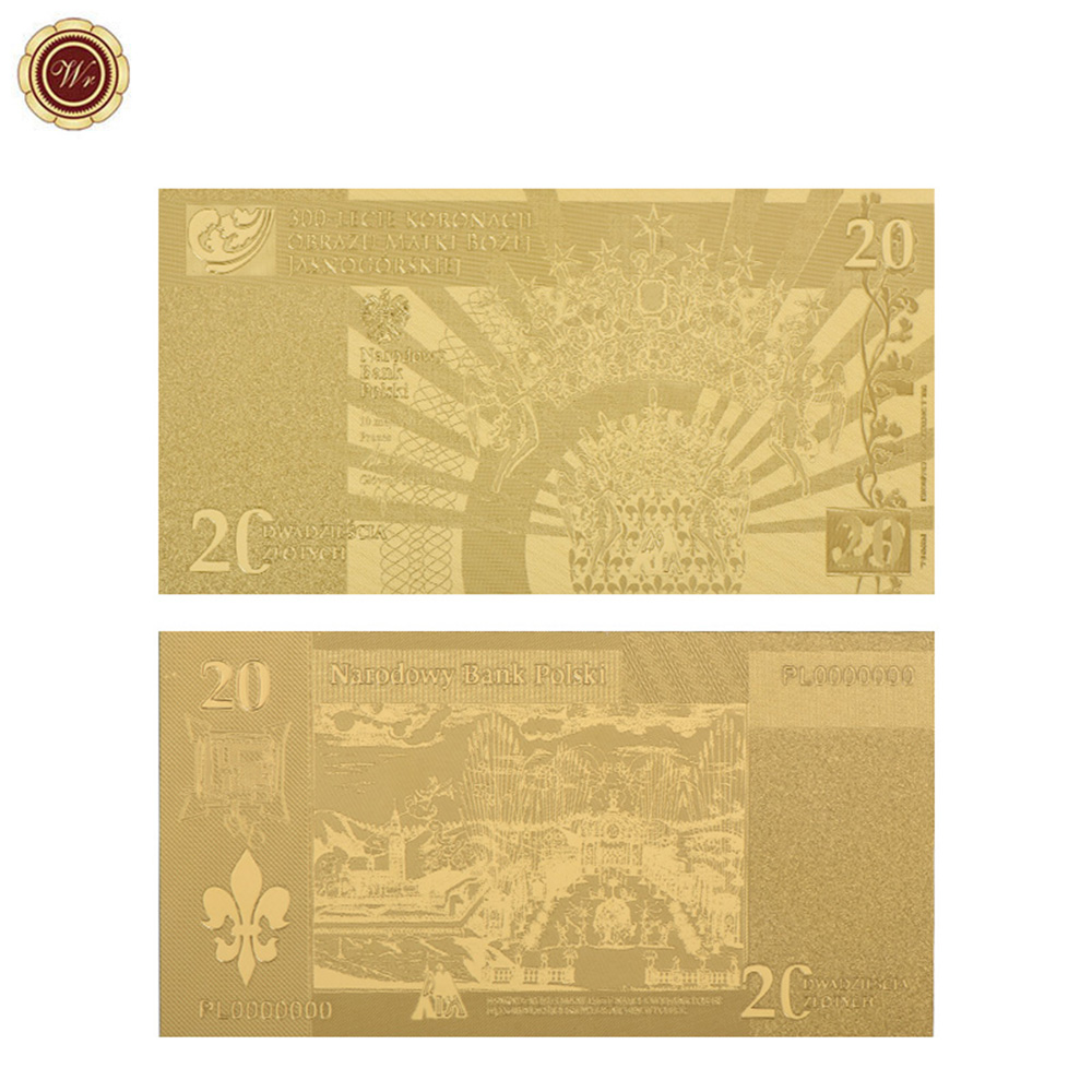 WR 20 Zloty Gold Plated Banknote Poland Currency Copy