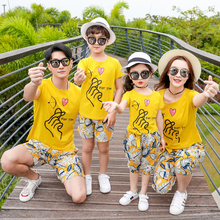 family matching outifts look mother daughter father son clothes mommy and me T shirt+shorts 2pcs clothing sets holiday dress family matching clothes 2018 new letter print t shirt lace shorts set 2pcs dad son sport suit family clothing korean casual sets