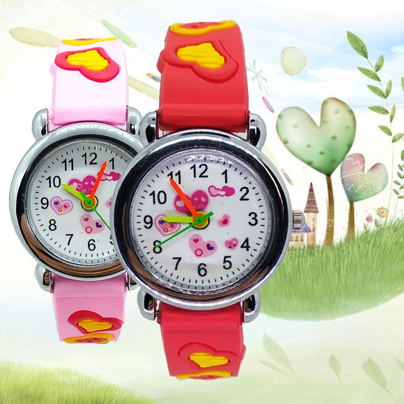 Good Quality Red Heart Children Watch Love-heart Silicone Kids Watches For Boy Girl Christmas Gift Students Clock Reloj Infantil