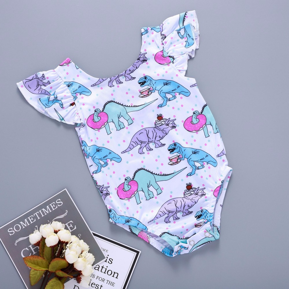 Baby Bodysuit Dinosaur Party Polyester Cotton Flutter Sleeve Onesie Baby Summer 12 Month Girl Clothes
