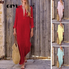 GIYU Summer Women Loose Line Dress Casual Solid Long Dresses V Neck Vestido Long Sleeve Basic Maxi robe femme giyu summer women shirt dress casual striped printing dresses turn down collar vestido long sleeve basic robe femme