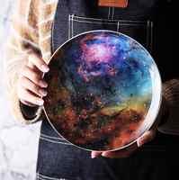 8 inch Nordic Night Sky Star Aurora Ceramic Dinner Dish Plate Decorative Dish Salad Dessert Snack Dish Food Container Crockery