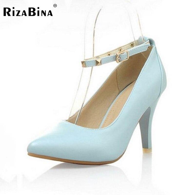 ФОТО women stiletto high heel shoes lady buckle sapatos quality footwear  platform fashion heeled pumps heels shoes size 34-43 P17153