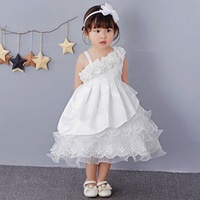 Baby Girl One Shoulder Baptism Dresses Girls Birthday Outfits Christening Wedding Girl Party Wear Pearls Tutu