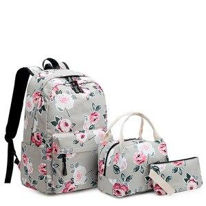 Image 2 - Sac à dos résistant pour femmes, ensemble léger et imprimé de fleurs, cartable pour adolescentes, sacoche pour ordinateur portable