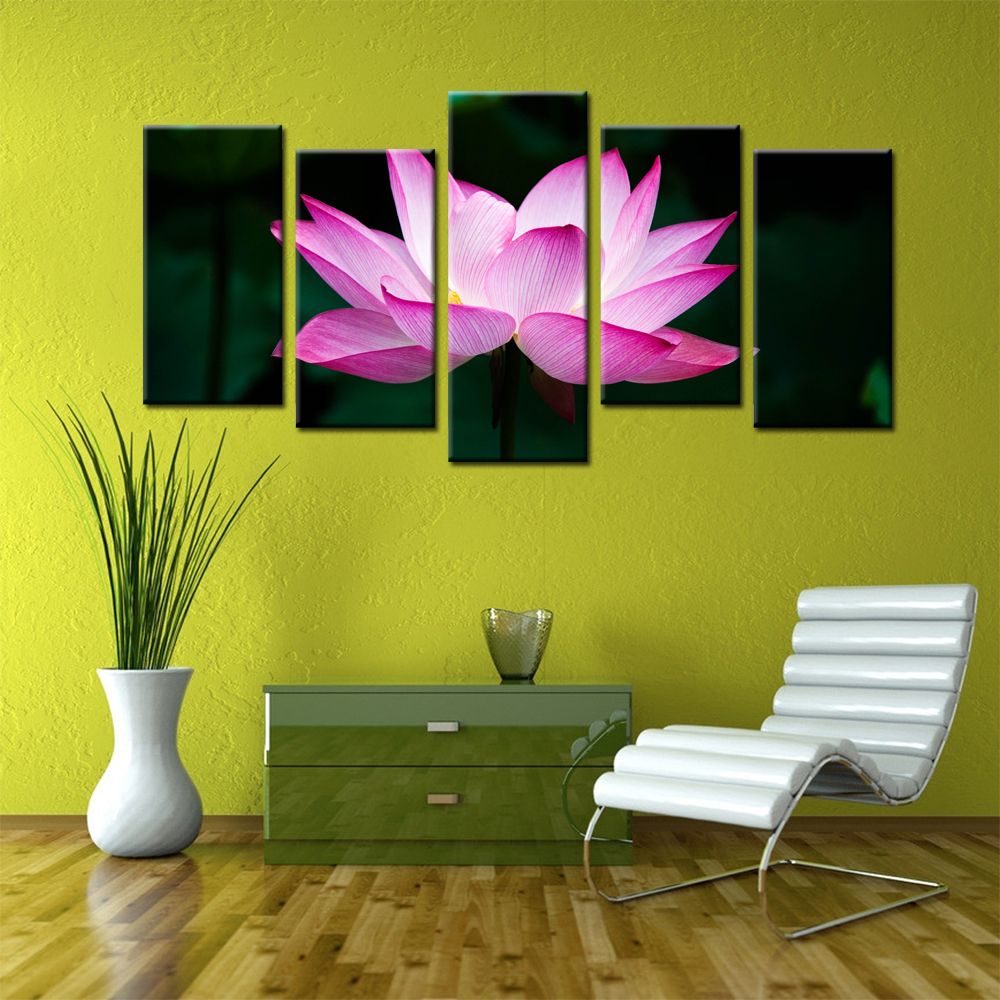 Home Decoration Painting Wall Art Contemporary Lotus Flower Printed ...