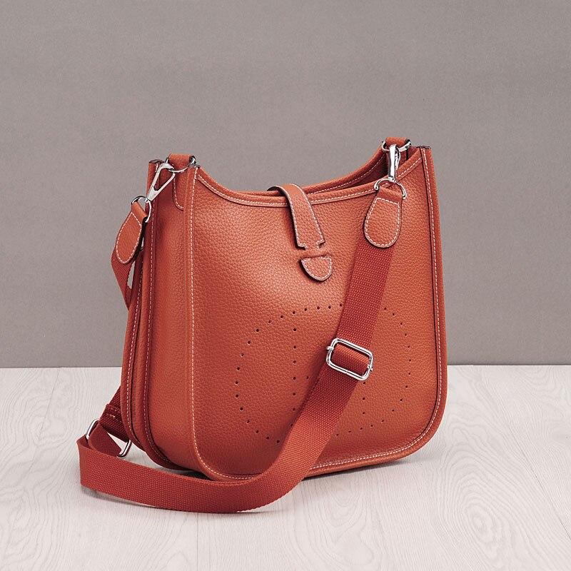Bagaj ve Çantalar'ten Omuz Çantaları'de Moda 100% Hakiki Deri omuzdan askili çanta Yüksek Kaliteli Dana Kadın postacı çantası Lüks Kova Yumuşak Çanta Bolsas Feminina'da  Grup 3