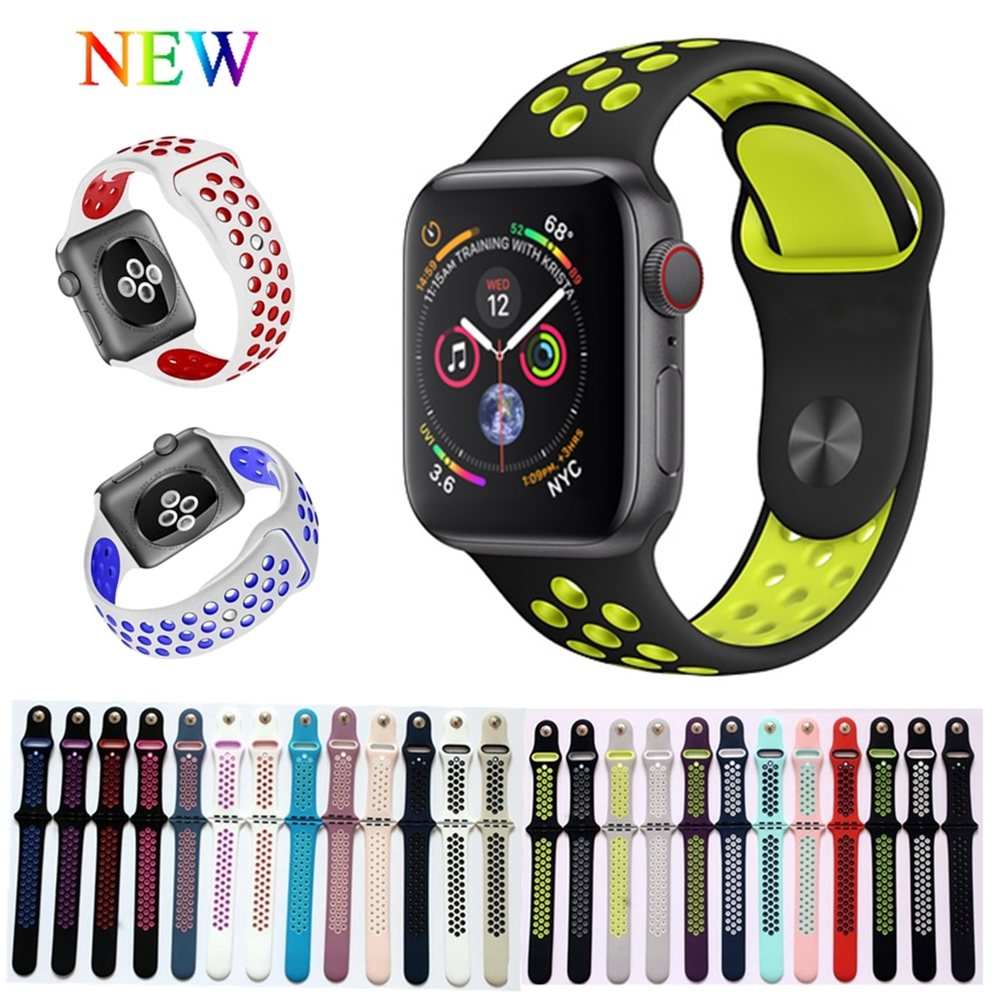 Sport Silicone strap for Apple watch band 4 40mm 44mm 42mm 38mm bracelet wrist belt Rubber Watchband for iwatch 4/3/2/1 Nike