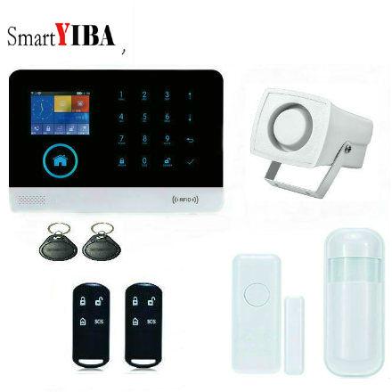 SmartYIBA APP RFID WIFI GSM Alarm System Security Alarm Camera/Remotes/PIR/Smoke/Gas/Glass Break Sensor Door Alarm For Choice hot selling wireless glass break vibration sensor works with s4 alarm system and g90b wifi gsm alarm system