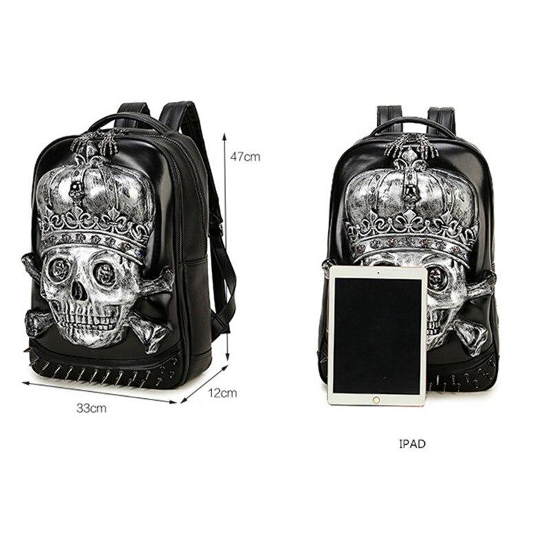 Мужской рюкзак большой емкости женский 15 ноутбук сумка для компьютера заклепки индивидуальные, трендовые головы призрака забавные черные/Золотые сумки с черепом - 2