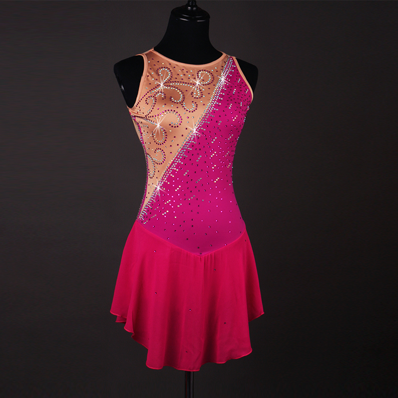 rose Red crystal custom ice skating dress figure skating dress woman girl adult Customizable color size