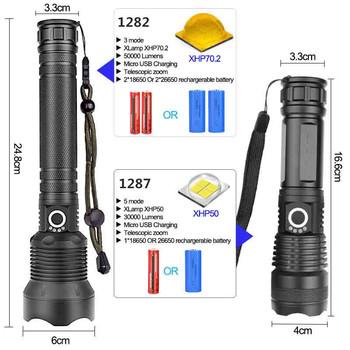 90000 lumens XLamp xhp70.2 hunting most powerful led flashlight rechargeable usb torch cree xhp70 xhp50 18650 or 26650 battery 3