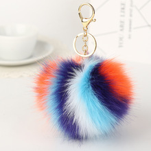 Pom Pom Fur key chain – Fashion 11cm Fur Ball Car KeyChain 5 Colors Women bag Key Ring with Pearl and Gold Silver Plated