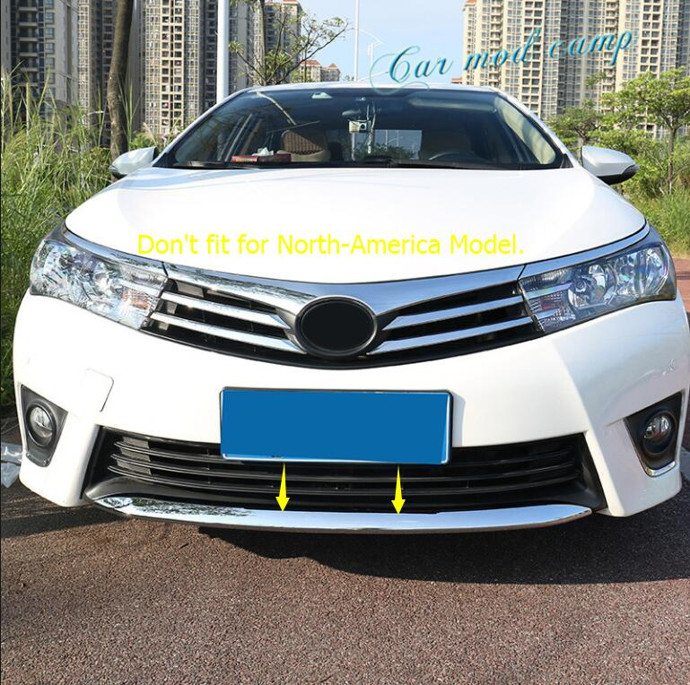 For Toyota Corolla 2014 2015 2016 Sedan (Not fit for North-America Model) ABS Chrome Front Bottom Bumper Cover Trim 1pcs for toyota corolla altis 2014 2015 2016 car body styling cover detector abs chrome trim front up grid grill grille hoods 1pcs